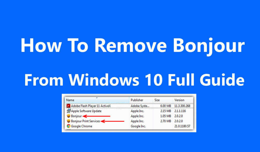 How To Remove Bonjour From Windows 10