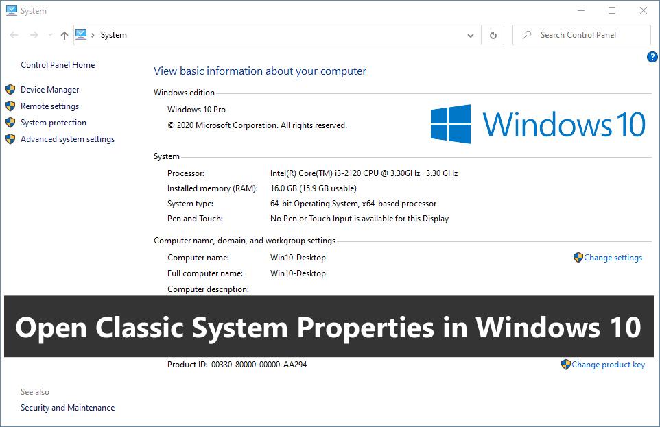 Open Classic System Properties in Windows 10